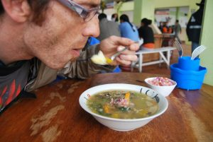 Foreigner Enjoying a Chairo Soup