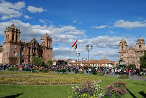 Tawantinsuyo Flag Flying above Cuzco's Plaza de Armas (Photo: Wayra)