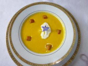 Squash and Ginger Creme with Croutons