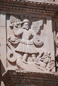 Angel and Serpent on Facade of Cathedral, Puno (Photo: David Knowlton)