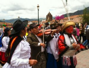 Playing and Singing Huaylías in Cuzco on Christmas (Photo: David Knowlton)