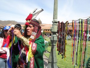 The Inca Showing the Khipu to the Local People in Cuzco (Photo: Walter Coraza Morveli)