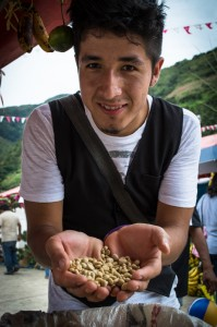 Neto Solorzano Shows Un-roasted Coffee Beans (Wayra)