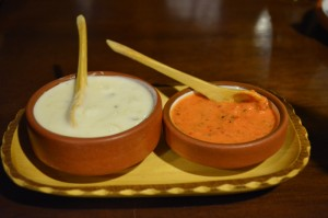 Two Sauces: Tzatziki and Spicy Sauce (Wayra)