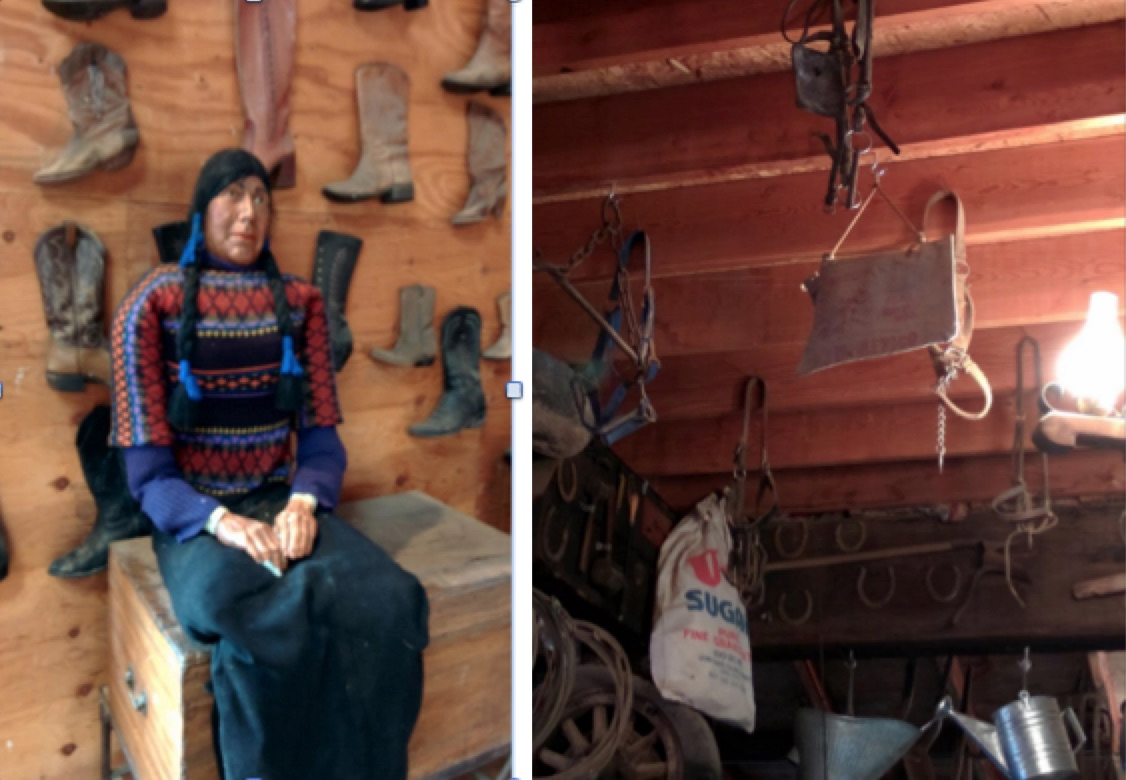 A Stuffed Indian and various tack in the loft of the barn.