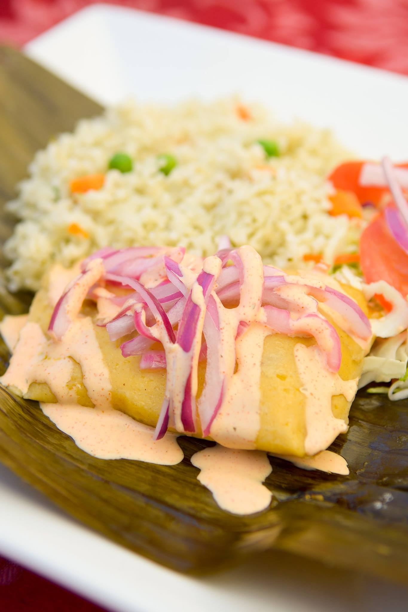 Who Could Resist Our Delicious Tamale Wrapped in a Plantain Leaf With Cilantro Rice and Salad!