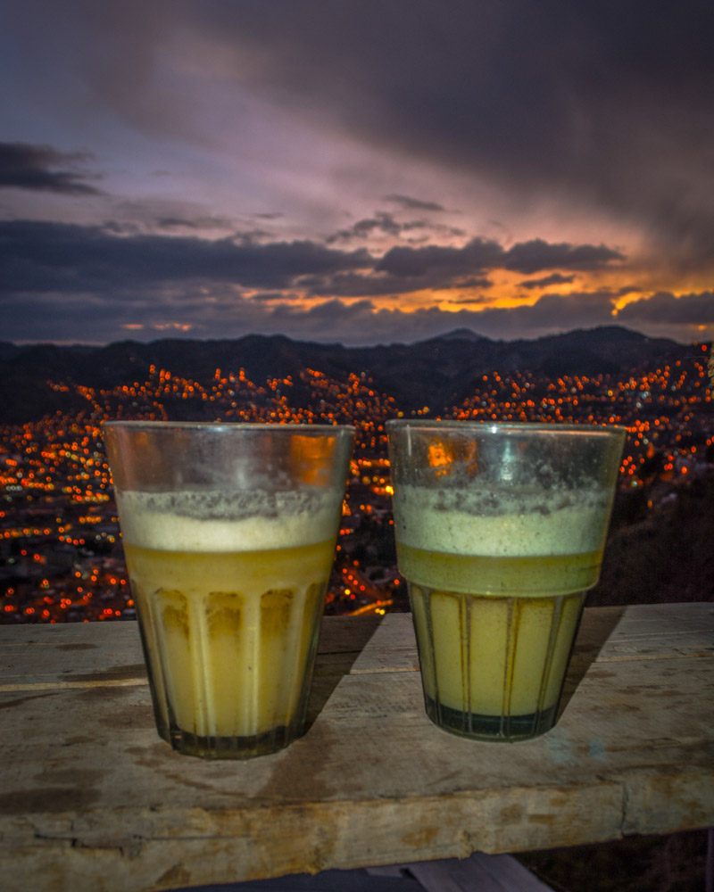 "Chicha in traditional glasses called ""Caporales"""