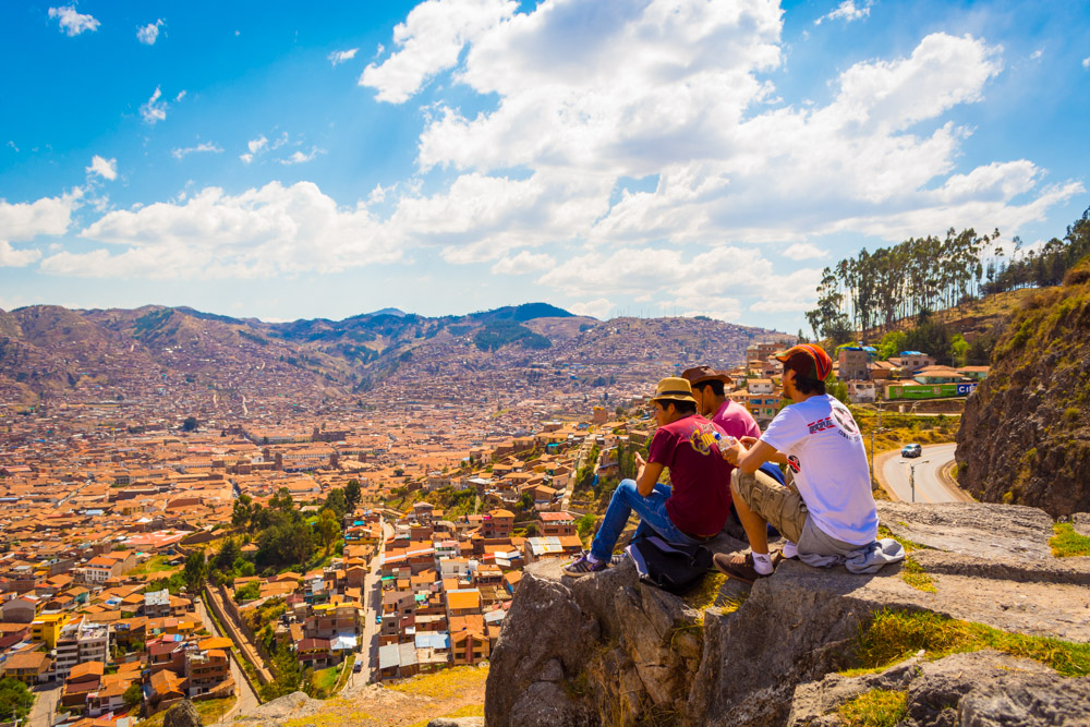 National Tourist, View of Cusco City from a Huaca