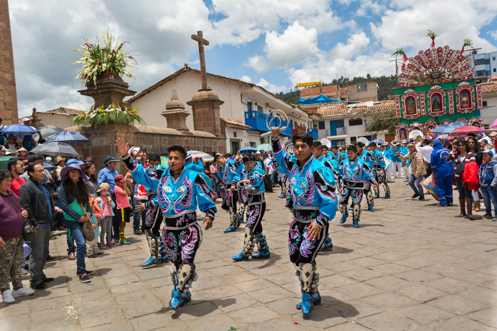 The caporales dancing in the feast of San Sebastian.