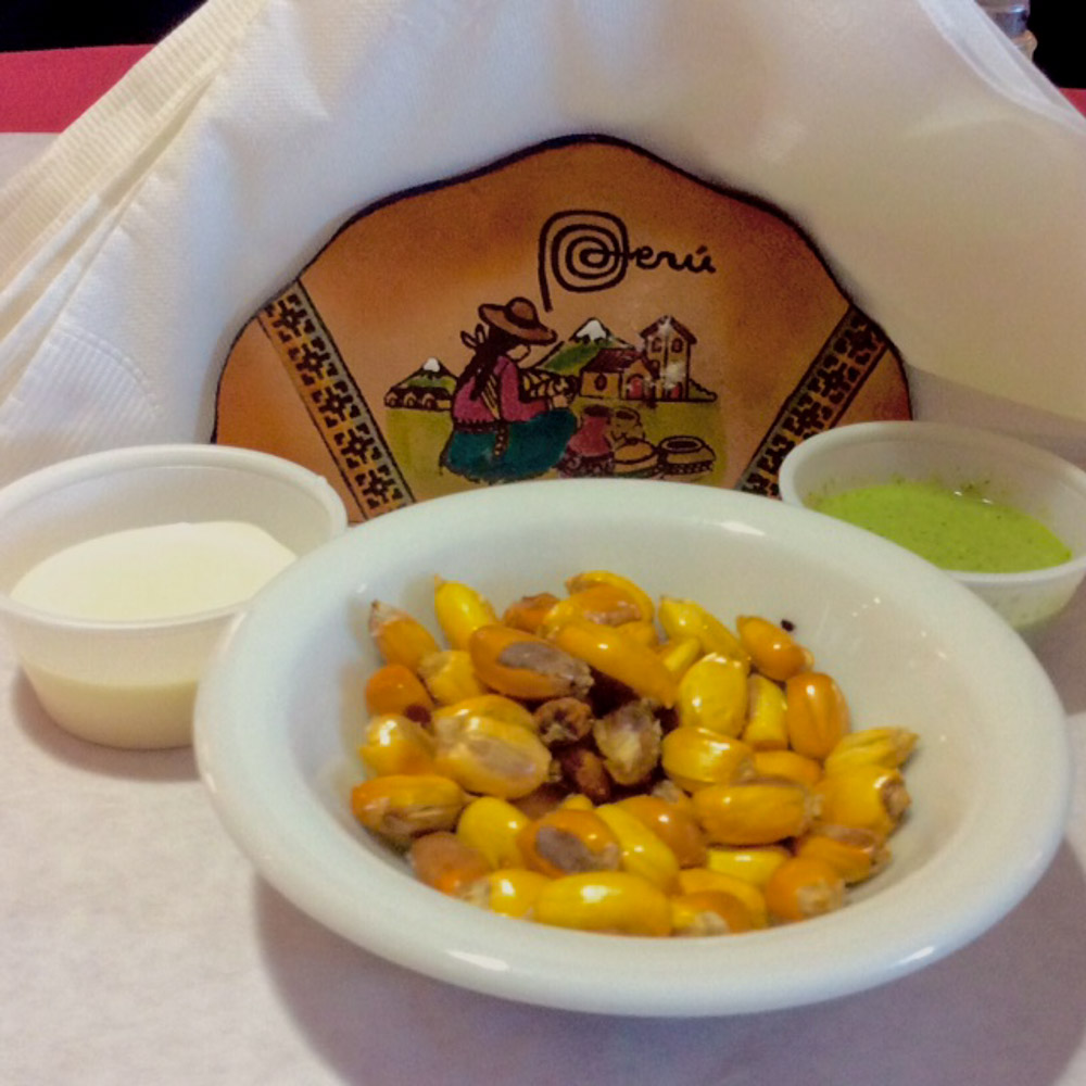 Puro Peru's Table Setting, Parched Corn, Hot Sauce, and Peruvian Mayonnaise