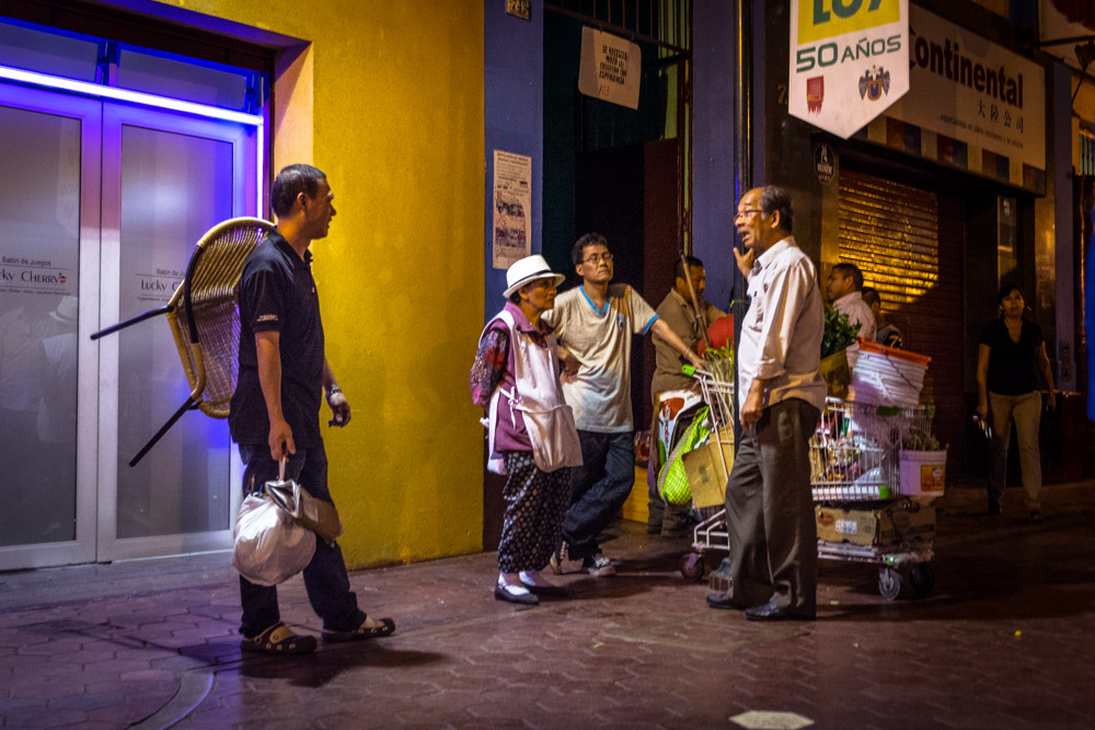 Chinese People Having a Conversation in the Street, Barrio Chino, Lima